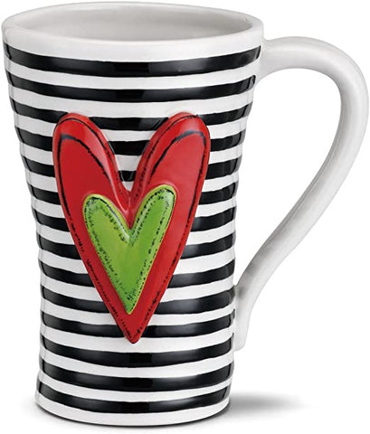 A Tracy Heart Mug Black Stripes