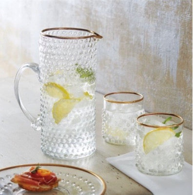 Dotted Hammered High Ball Glasses