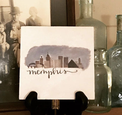 Memphis Skyline Marble Coaster art by Lindy Tate