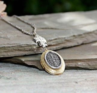 Vintage Inspired St. Benedict Cross Locket