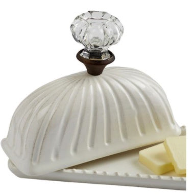 Vintage Look Glass Door Knob Butter Dish