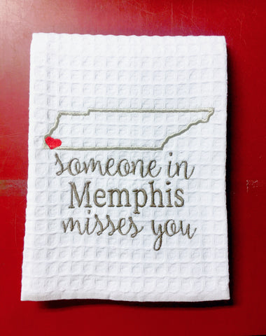 Someone in Memphis Misses You Kitchen Towel TN outline