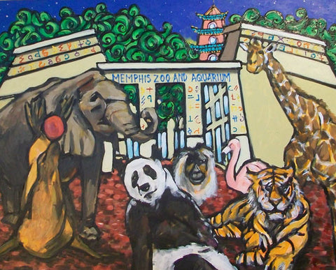 PRINT Memphis ZOO David Lynch Panda Elephant Tiger Giraffe