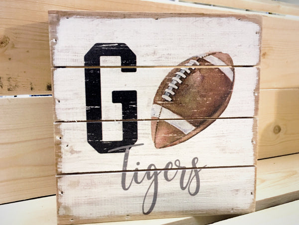 Go Team Custom Mini Wood Canvas Tigers