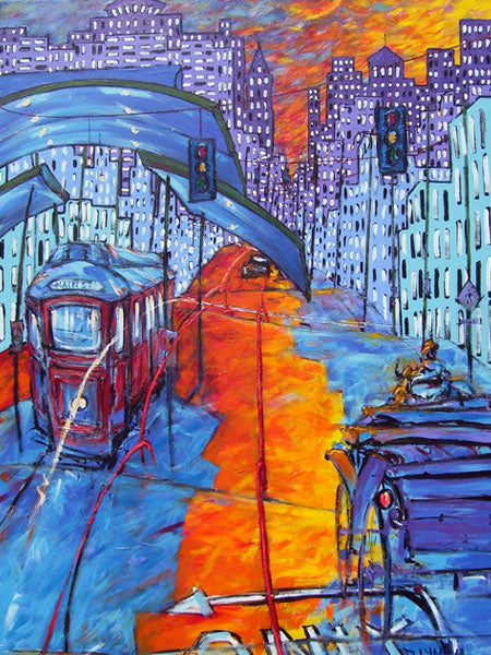 Main St. and Auction downtown memphis trolley and horse drawn carriage art print