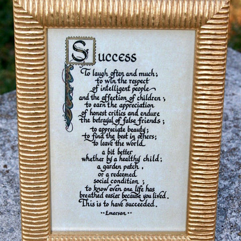 Success calligraphy quote frame