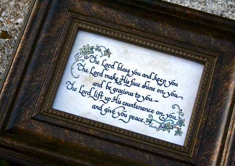 May the Lord bless you and keep you calligraphy scripture quote frame