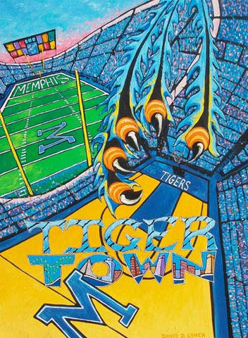 PRINT TIGER TOWN David Lynch U of Memphis Go Tigers