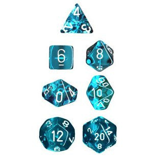 CHX 23015 Translucent Polyhedral Teal/white 7-Die Set