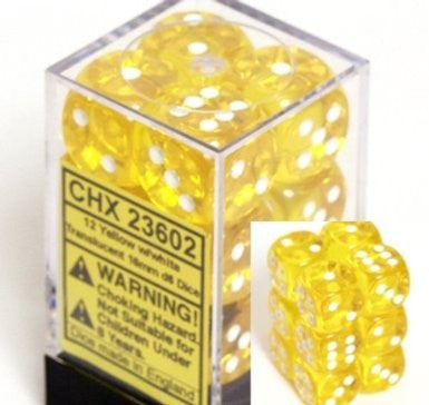 CHX 23602 Translucent 16mm d6 Yellow/white (12) Dice