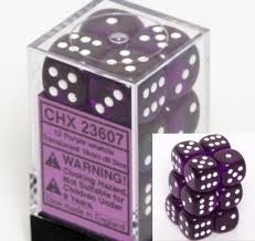 CHX 23607 Translucent 16mm d6 Purple/white (12) Dice