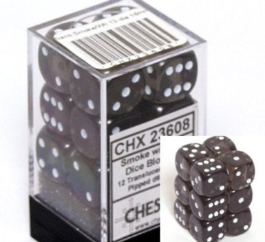 CHX 23608 Translucent 16mm d6 Smoke/white Block (12 ) Dice