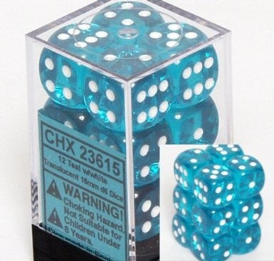Chessex 23615 Teal with White Translucent Dice-16mm Six Sided Die (12) Block of Dice - The Games Corner