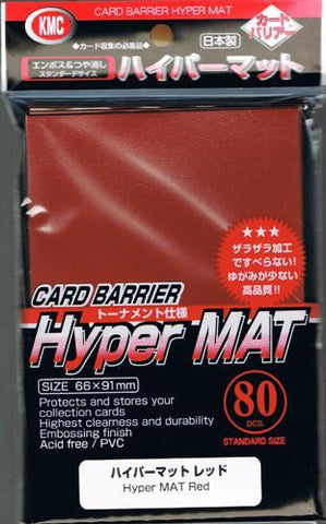 KMC SLEEVE HYPER MAT RED (80 SLEEVES/PACK) - STANDARD SIZE