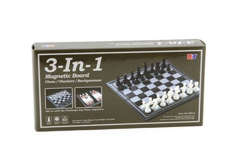 3 in 1 Magnetic Chess/Checkers/Backgammon 10""
