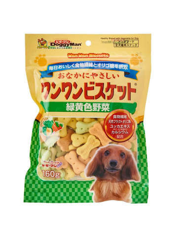 *Buy 1 Get 1 Free!* Doggyman Bowwow biscuit Green & Yellow Vegetable (160g)