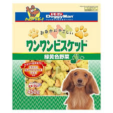 *Buy 1 Get 1 Free!* Doggyman Bowwow Biscuit Green & Yellow Vegetable Pet Snack Big Dog Treat Snack (450g)