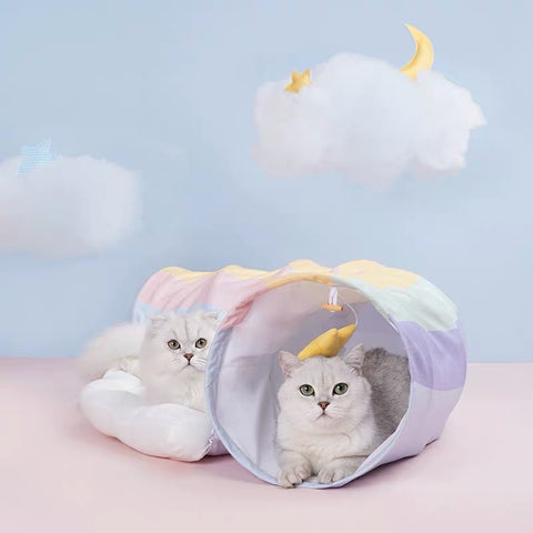 Zeze Rainbow Cat Tunnel and Bed