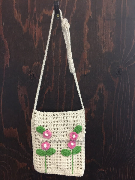 White/Pink Flower Purse
