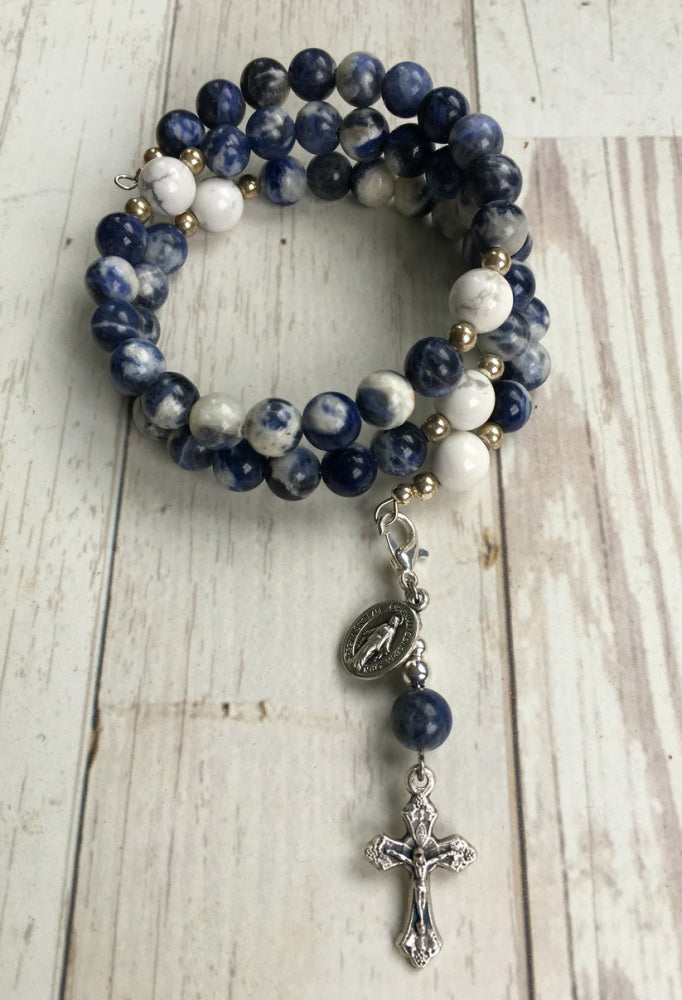Immaculate Conception Rosary Bracelet (Sodalite)