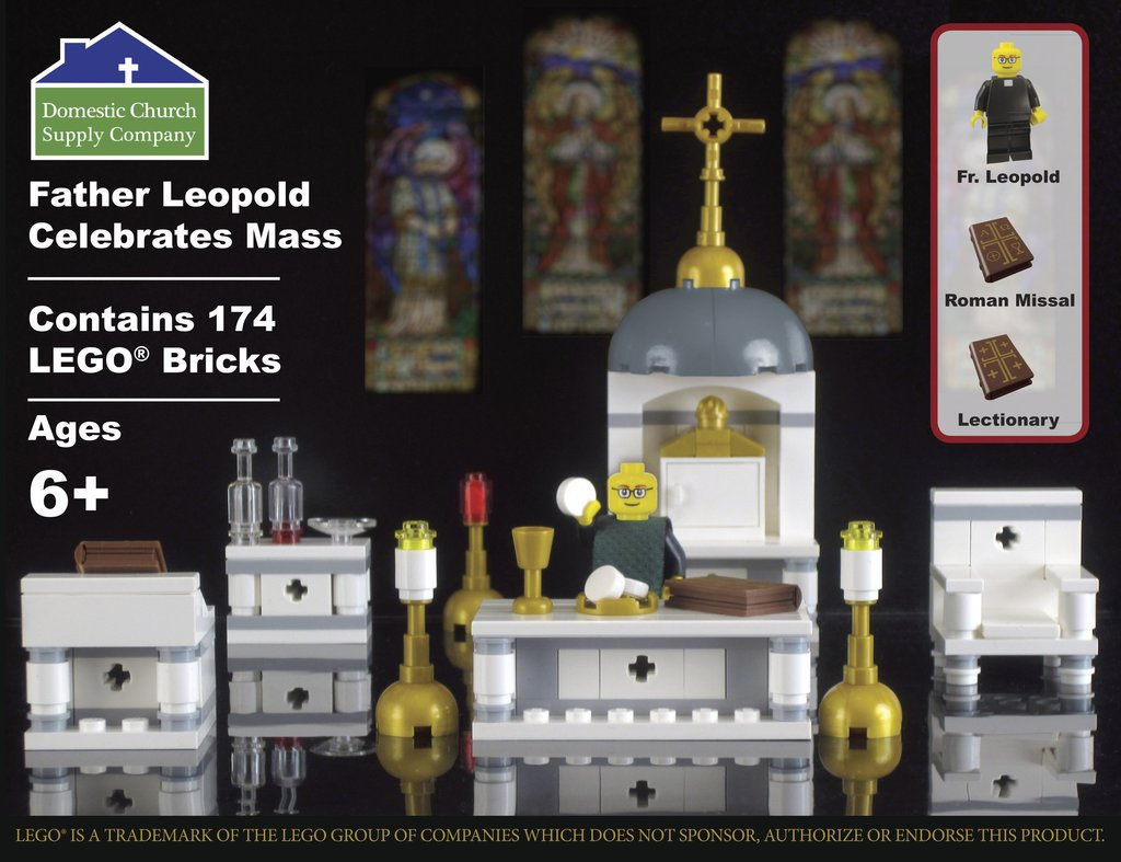 Lego Father Leopold Celebrates Mass