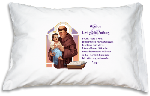 Prayer Pillowcase - St. Anthony - ABCatholic