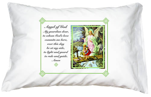Prayer Pillowcase - Guardian Angel (Green) - ABCatholic