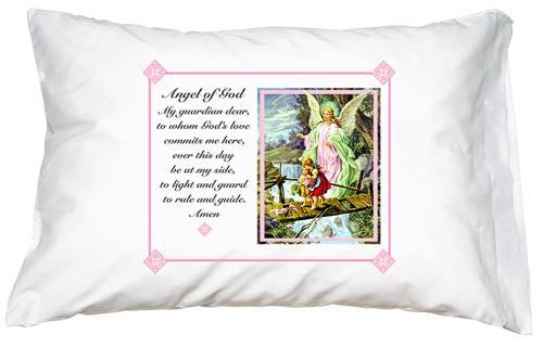 Prayer Pillowcase - Guardian Angel (Pink) - ABCatholic