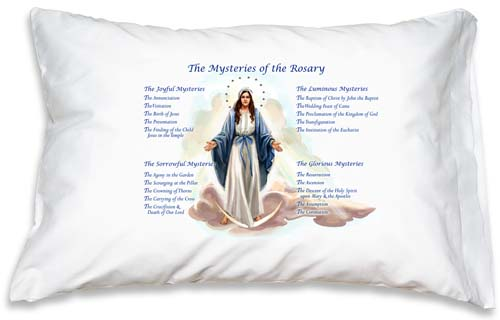 Prayer Pillowcase - Our Lady of Grace: Rosary Mysteries - ABCatholic