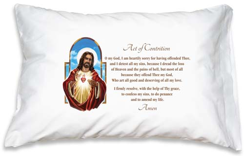 Prayer Pillowcase - The Sacred Heart: Act of Contrition