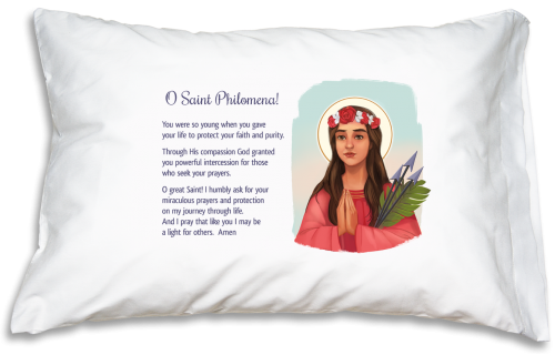 Prayer Pillowcase - St. Philomena - ABCatholic