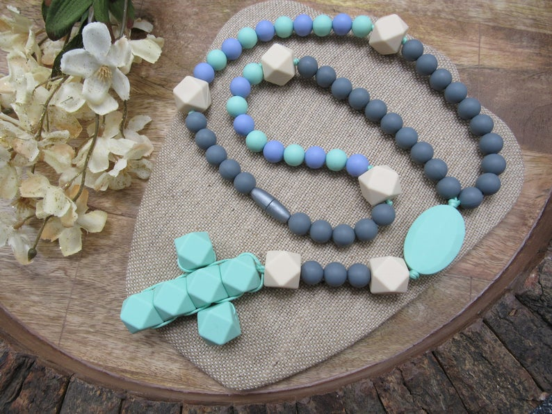 Mint / Gray (Teething Rosary)