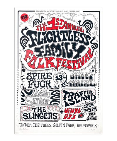 Flightless Records - 1st Annual Flightless Family Folk Fest ~ A2 Screen Printed Poster
