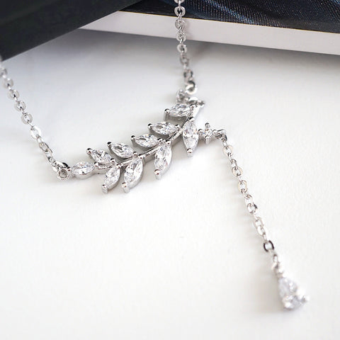 SS crystal leaves necklace