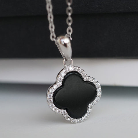 silver lucky clover necklace
