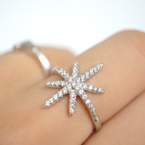 925 meteorites CZ glam open ring