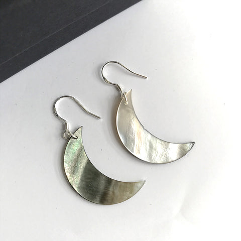 925 moon earrings