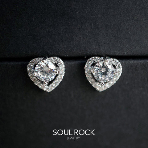 heart shaped solitaire earrings