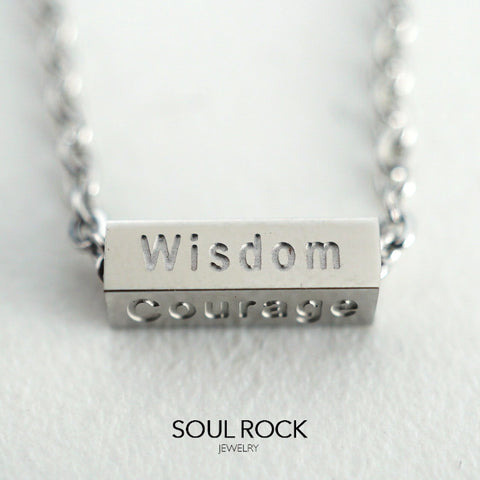 SS wisdom courage luck belief necklace