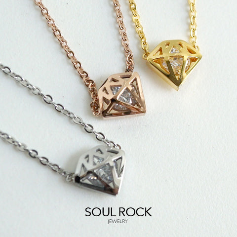SS diamond pendant necklace