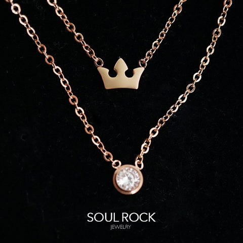 SS layered crown necklace