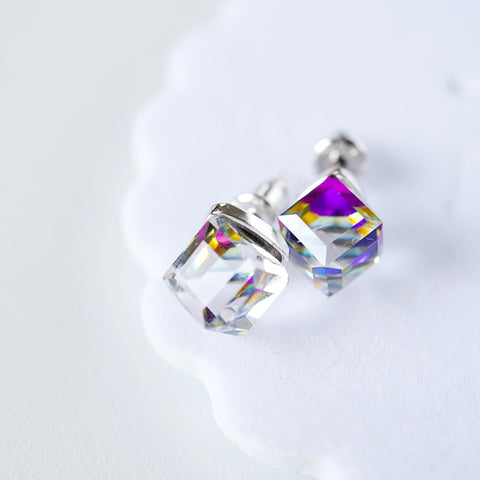 rainbow cube earrings