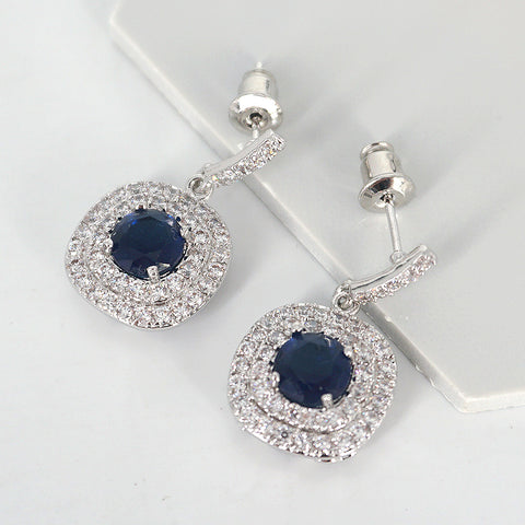 Melody blue stone cubic zirconia earrings