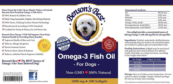 Omega-3 Fish Oil for Dogs - 1000 mg Softgels