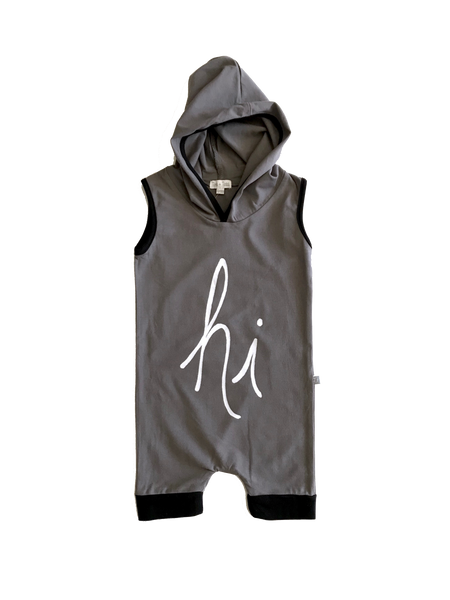 Hooded Romper - Gray