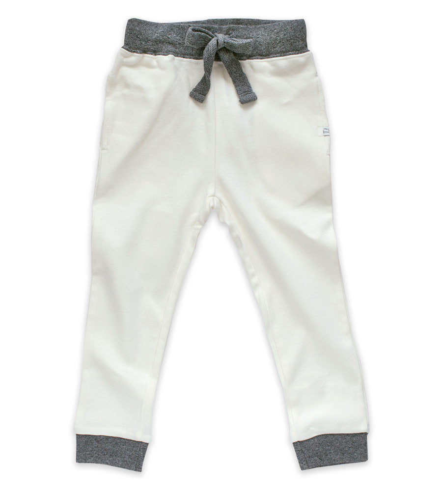 Jogger Pants - Cream & Heather Gray