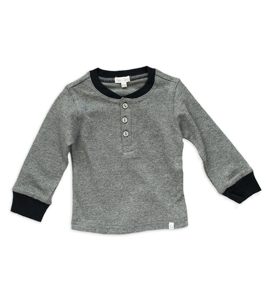 Henley Shirt - Heather Gray & Black