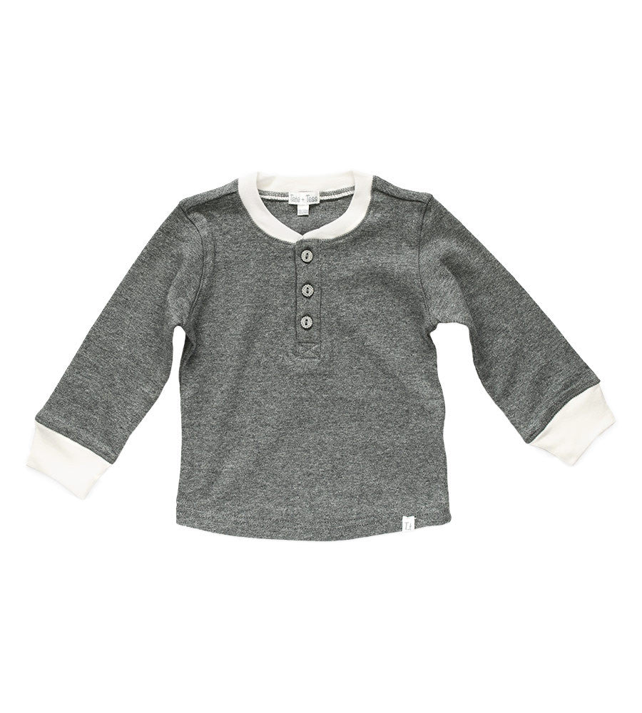 Henley Shirt - Heather Gray & Cream