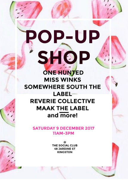 Pop-Up Shop Miss Winks- Saturday 9 December 2017 The Social Club Kingston Canberra