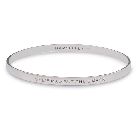 Damselfly 'She's Mad But She's Magic' Bangle- Silver